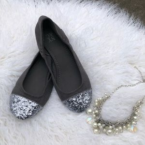 Gray and Silver Sparkle Flats 7